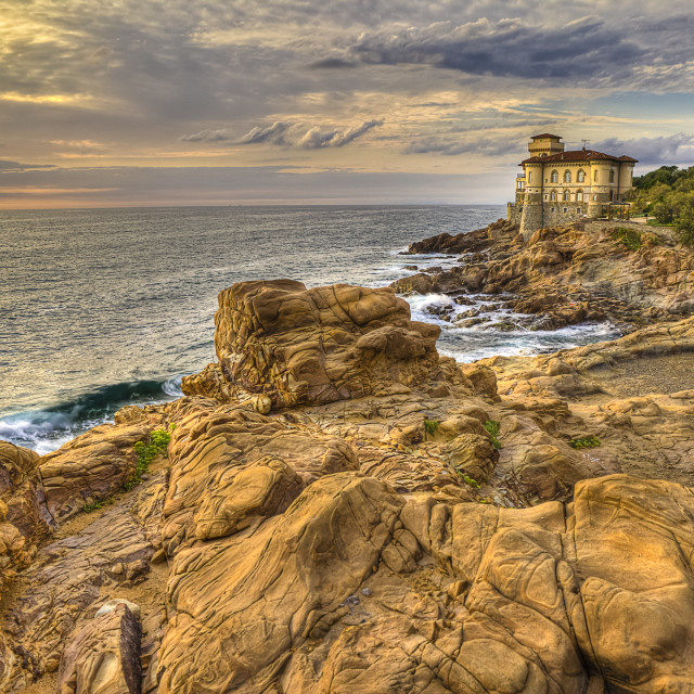 """Castle of the mug, mug flat rocks, Etruscan Coast Livorno Tuscany Italy"" stock image"