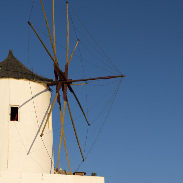 """Windmill, Oia, Santorini"" stock image"