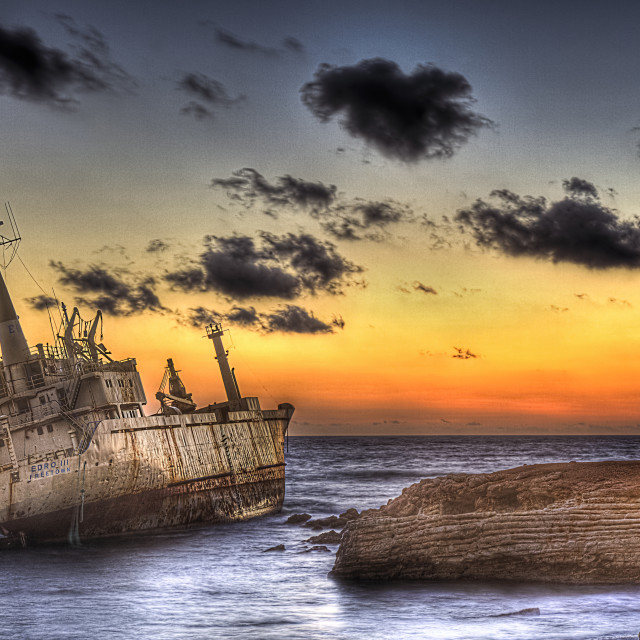 """Merchant ship Edro III wrecked in sea cave (Cyprus island)"" stock image"