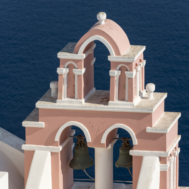 """Bell Tower, Oia, Santorini, Greece"" stock image"