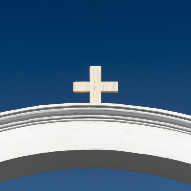 """Arch with Cross, Oia, Santorini"" stock image"