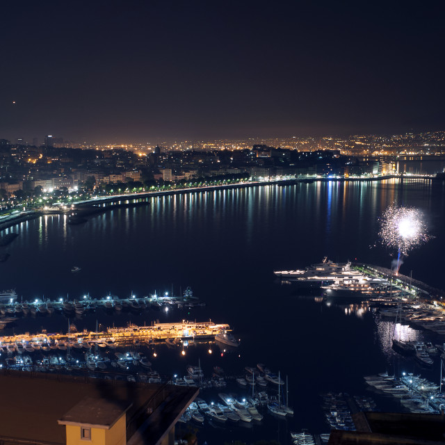 """""""Night landscape with firework in Naples"""" stock image"""