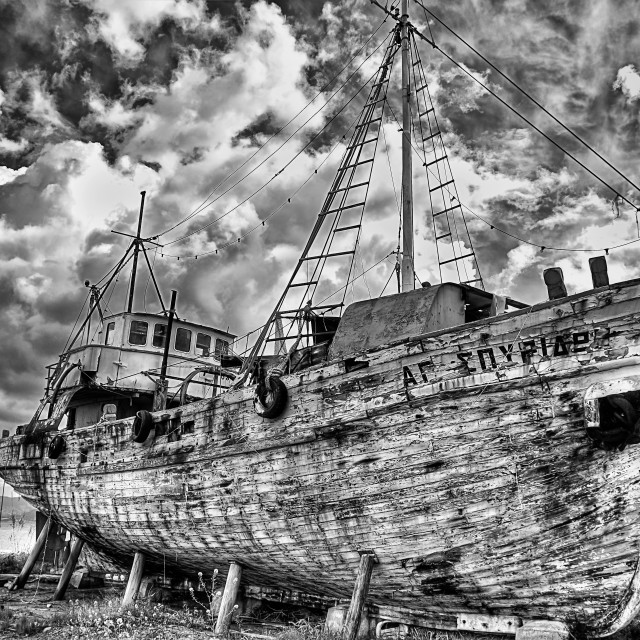 """Wooden ship in the drydock od the harbor of Latchi (Cyprus island)"" stock image"