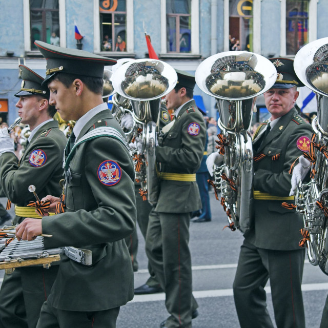 """Military orchestra musicians parading"" stock image"