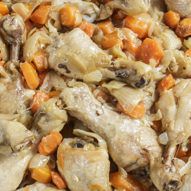 """Chicken with carrots"" stock image"