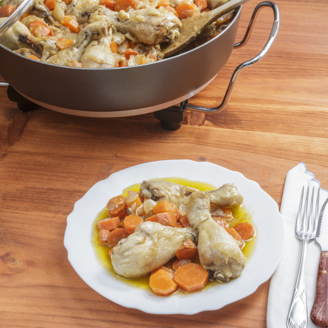 """Chicken with carrots stew"" stock image"