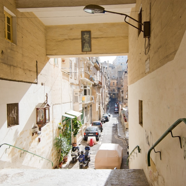 """""""City scene in Valletta"""" stock image"""