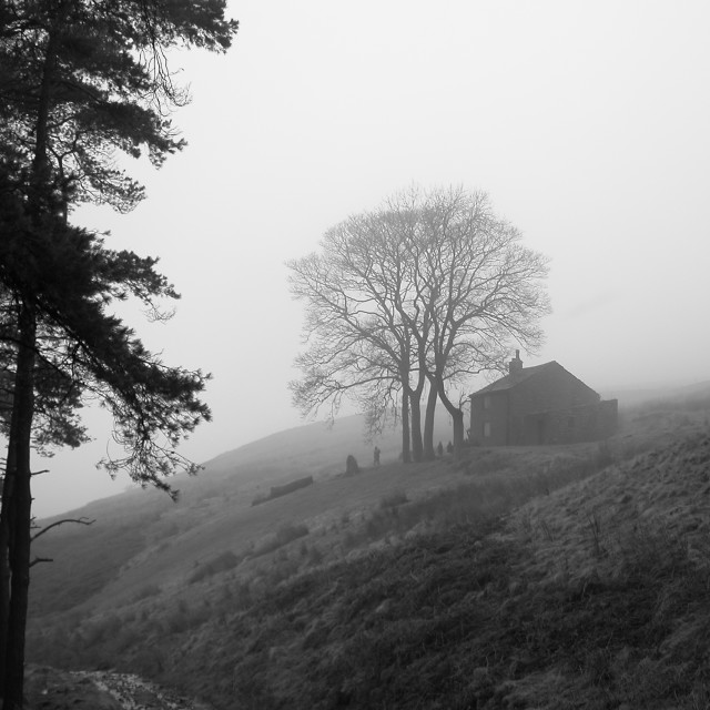 """""""Cumberland cottage in the mist"""" stock image"""