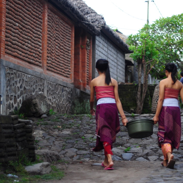 """""""Two balinese girls carrying a pail"""" stock image"""
