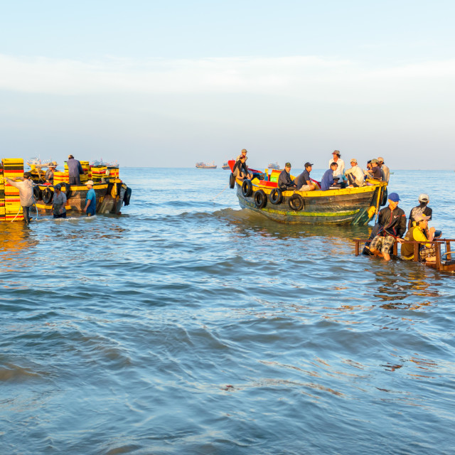 """""""People's daily life at fishing village Long Hai, they collecting fresh fishes from boat and open up a market in the early morning"""" stock image"""