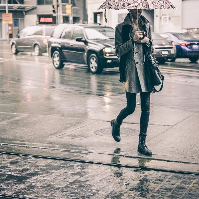 """""""Walking in the rain"""" stock image"""