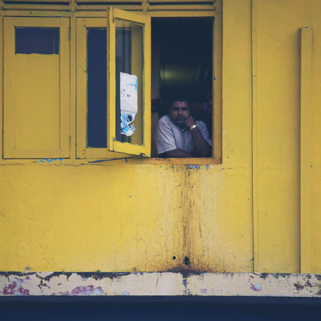 """Man in window"" stock image"