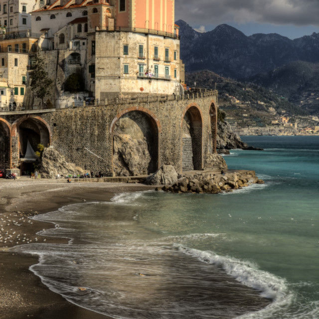 """Atrani, italian fishing village, beach ed church"" stock image"
