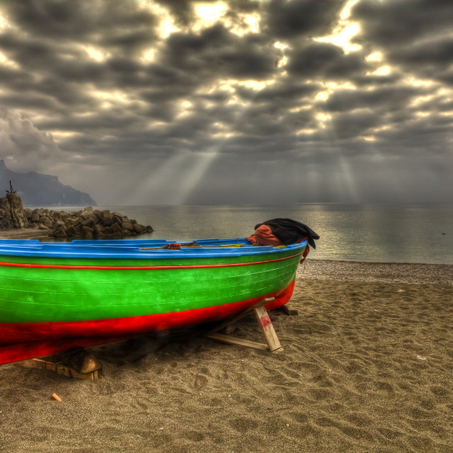"""Atrani boat in beach during a strom HDR"" stock image"