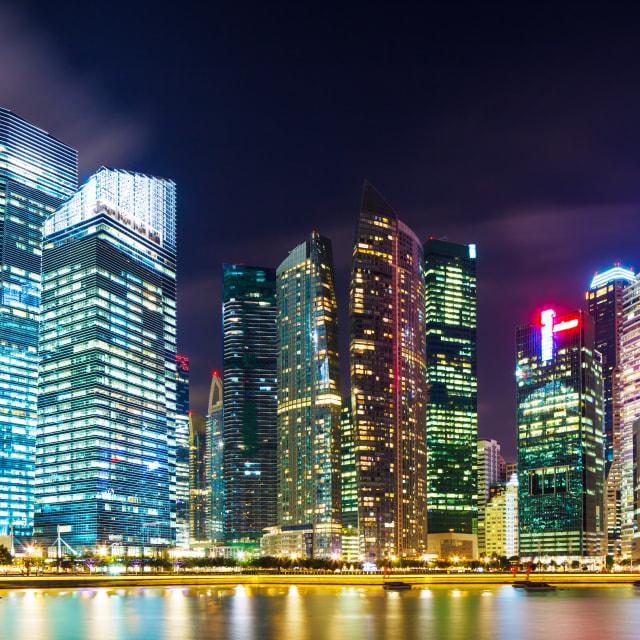 """Singapore cityscape at night"" stock image"