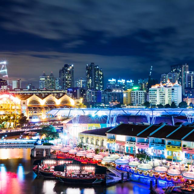 """""""Singapore skyline at night"""" stock image"""