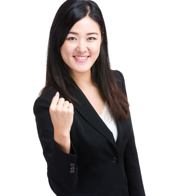 """""""Cheer up business woman"""" stock image"""