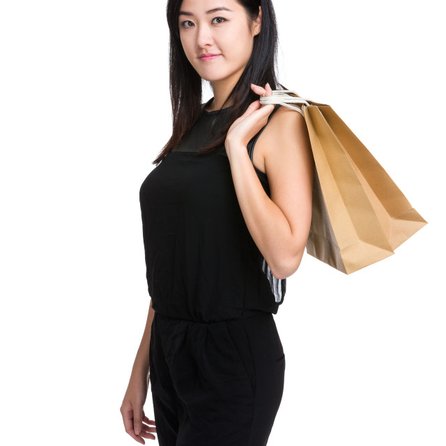 """Asian woman carry shopping bag"" stock image"