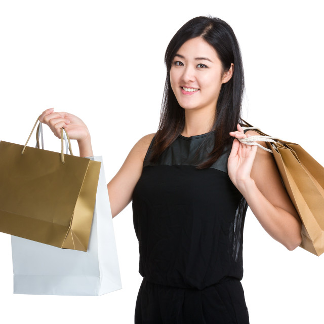 """Woman hold shopping bag"" stock image"