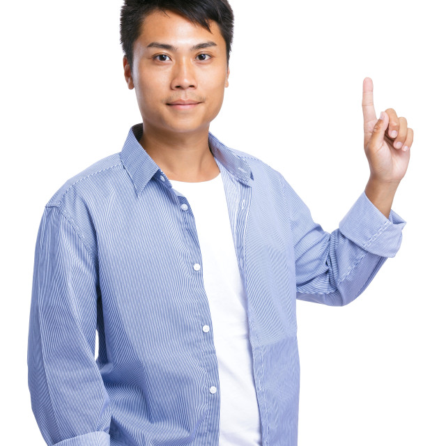 """""""Asian man finger point up"""" stock image"""