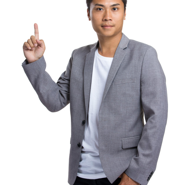 """""""Businessman point up"""" stock image"""