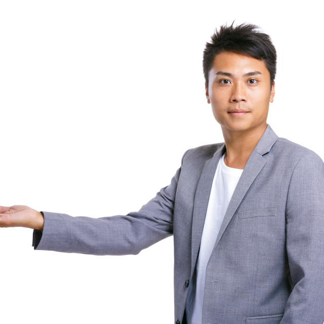 """""""Business man hand show something"""" stock image"""