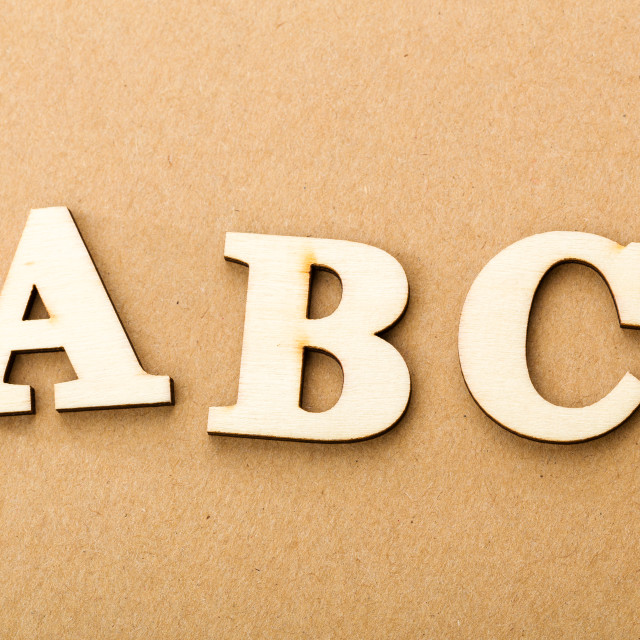 """Wooden text for ABC"" stock image"
