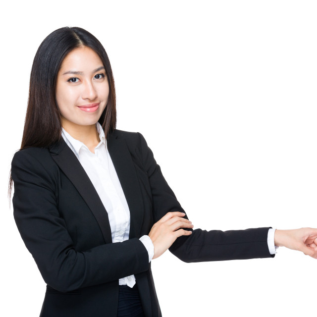"""""""Business woman with finger point aside"""" stock image"""