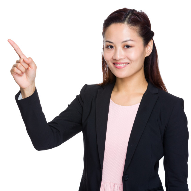 """""""Business woman finger point up"""" stock image"""