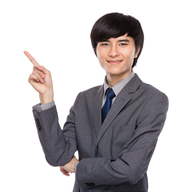 """""""Young businessman with finger up"""" stock image"""