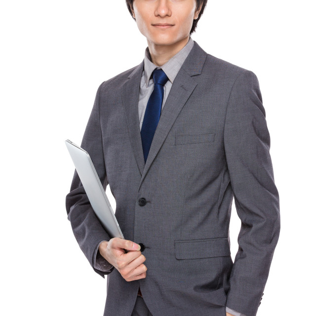 """""""Asian businessman with laptop"""" stock image"""