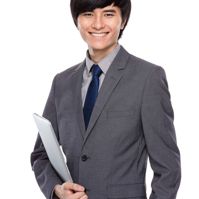 """""""Young businessman with laptop computer"""" stock image"""