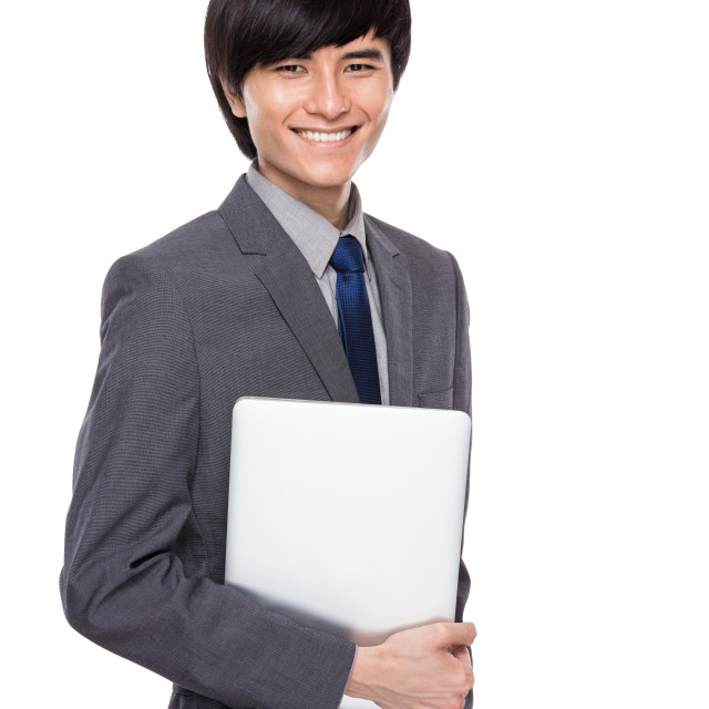"""""""Young businessman with notebook computer"""" stock image"""