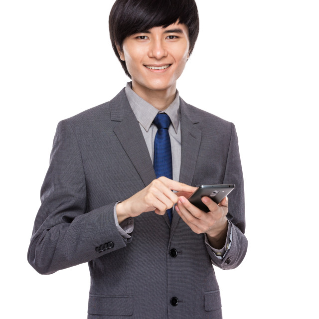 """""""Businessman touch on mobile phone"""" stock image"""