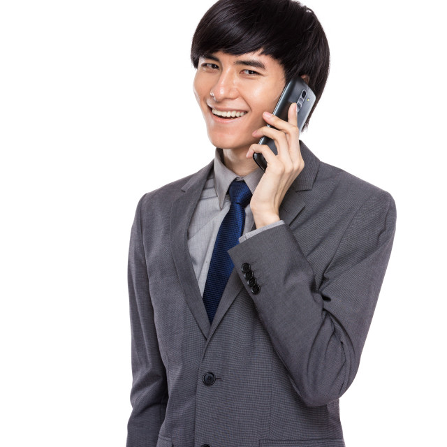 """""""Businessman talk to mobile phone"""" stock image"""