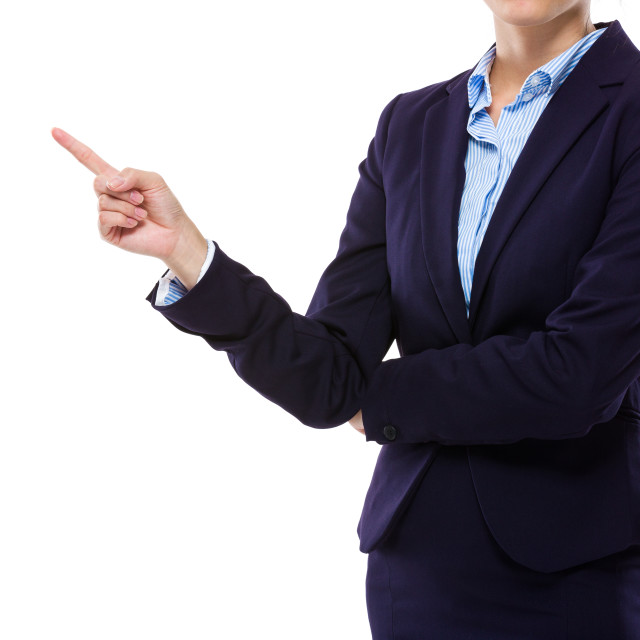 """""""Businesswoman with finger point aside"""" stock image"""