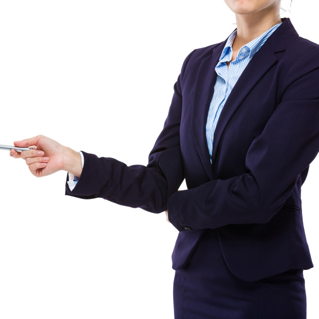 """""""Businesswoman with pen point aside"""" stock image"""