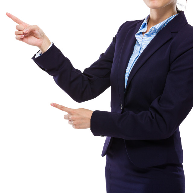 """""""Businesswoman with two finger point aside"""" stock image"""