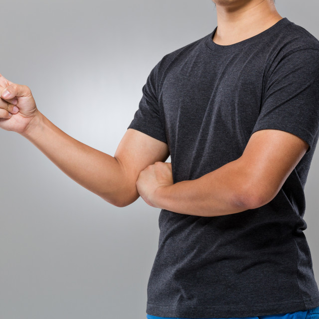 """""""Man with finger point aside"""" stock image"""