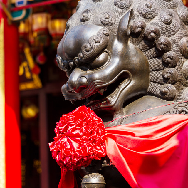 """Lion statue in buddha temple"" stock image"