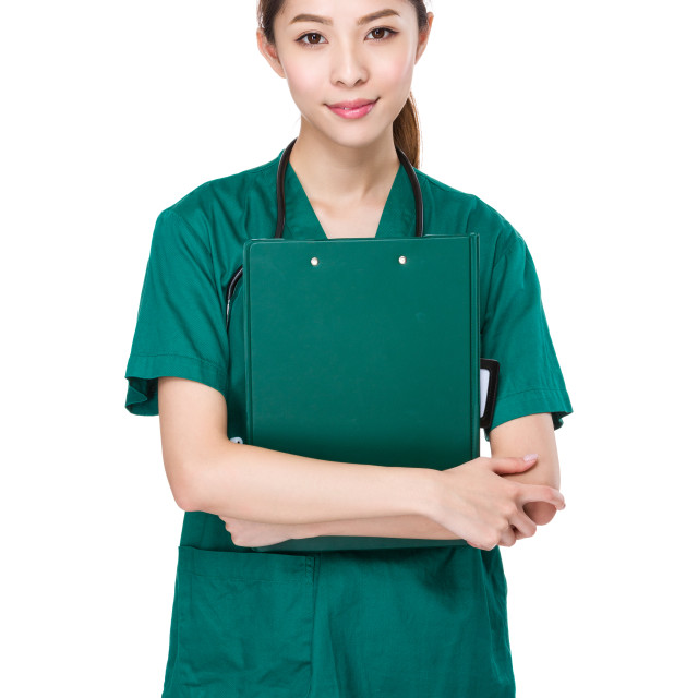 """""""Asian Doctor with clipboard"""" stock image"""