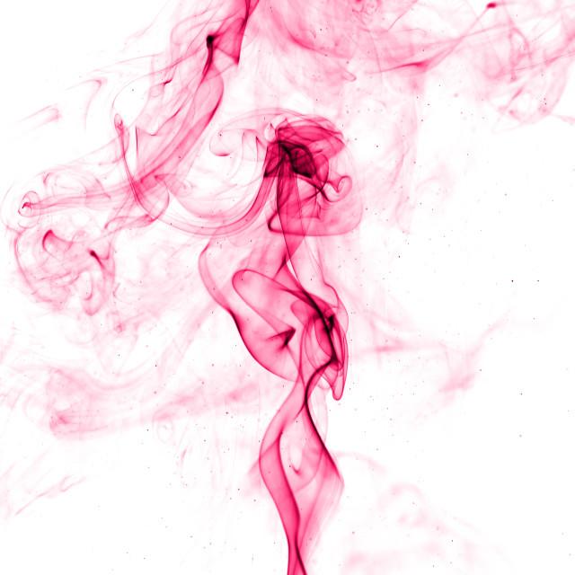 """Pink smoke on white background"" stock image"