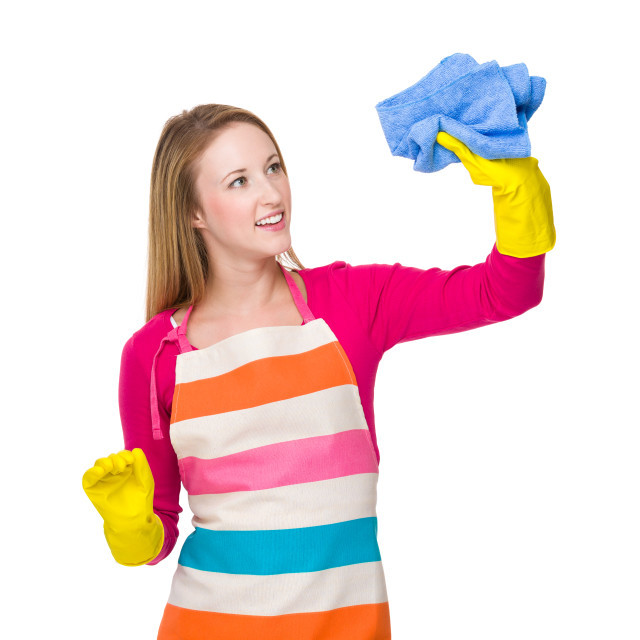 """""""Woman use the rag for cleaning"""" stock image"""