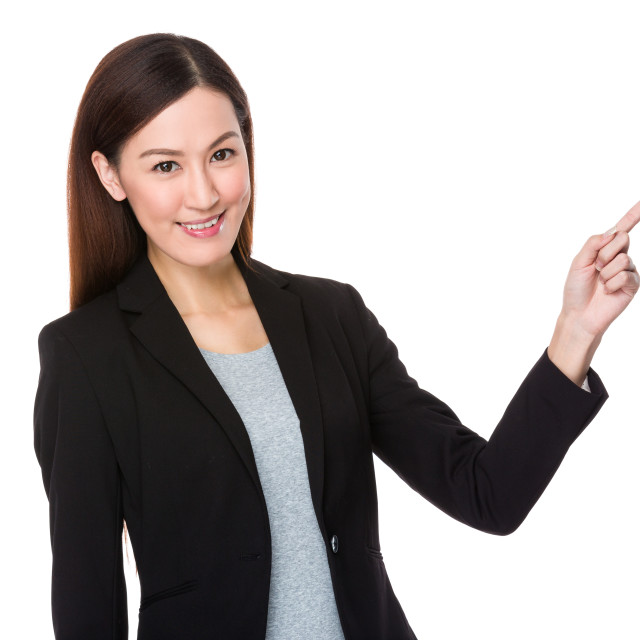 """""""Businesswoman with finger point up"""" stock image"""