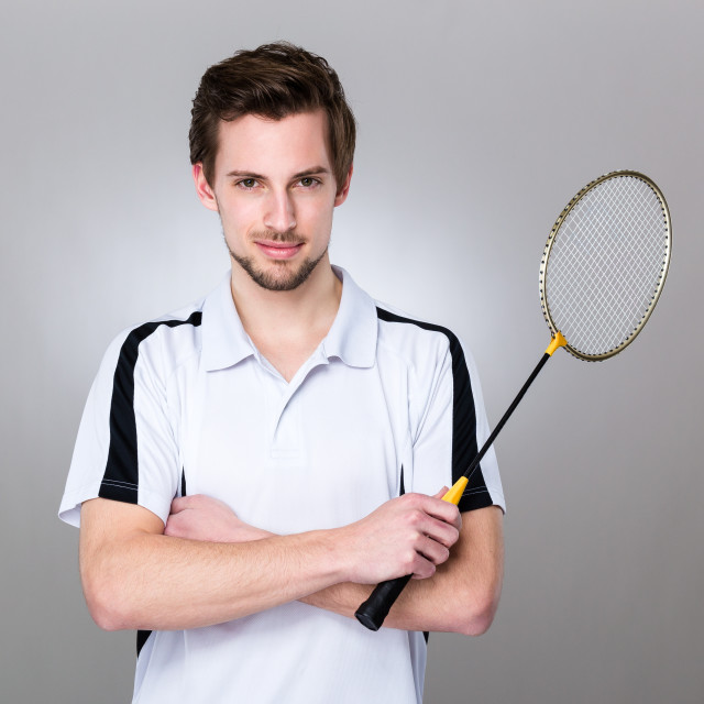 """""""Sport man hold with shuttlecock"""" stock image"""