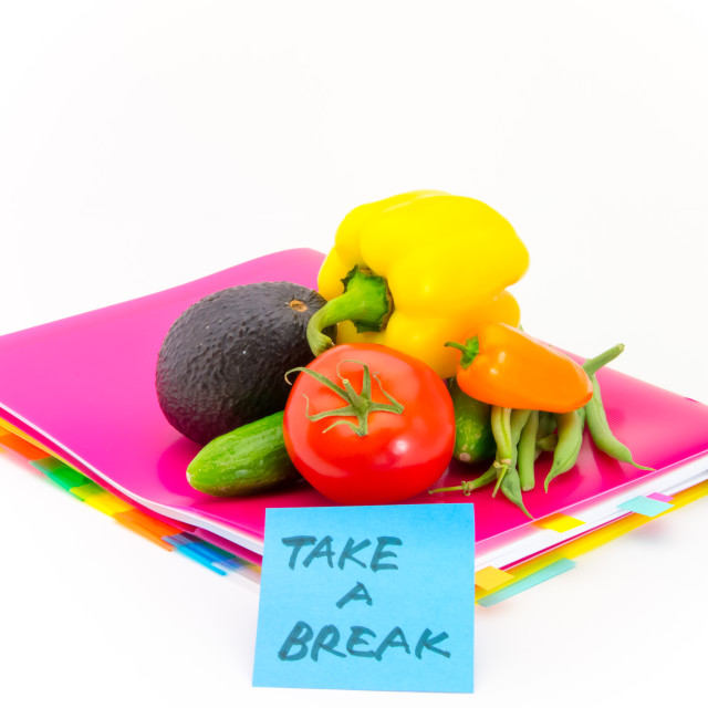 """Office Documents and Vegetables; Take a Break"" stock image"