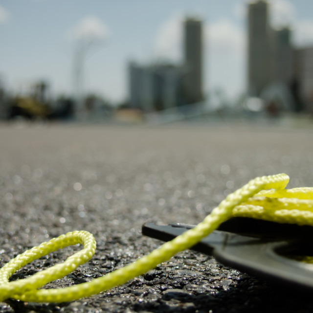 """""""The Yellow String on the Ground at the Constructionsite"""" stock image"""