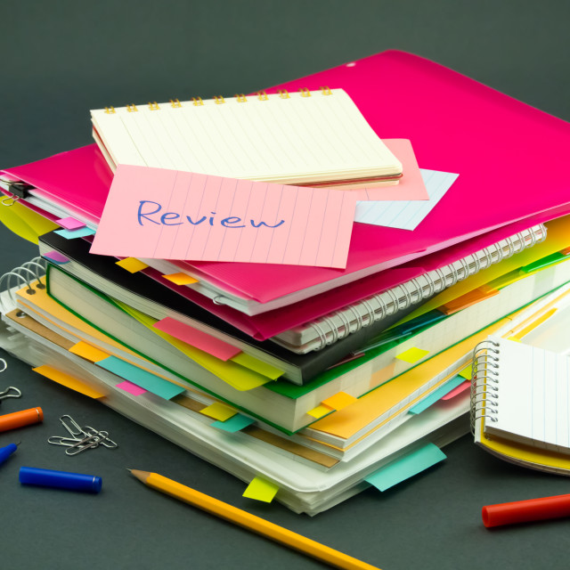 """The Pile of Business Documents; Review"" stock image"