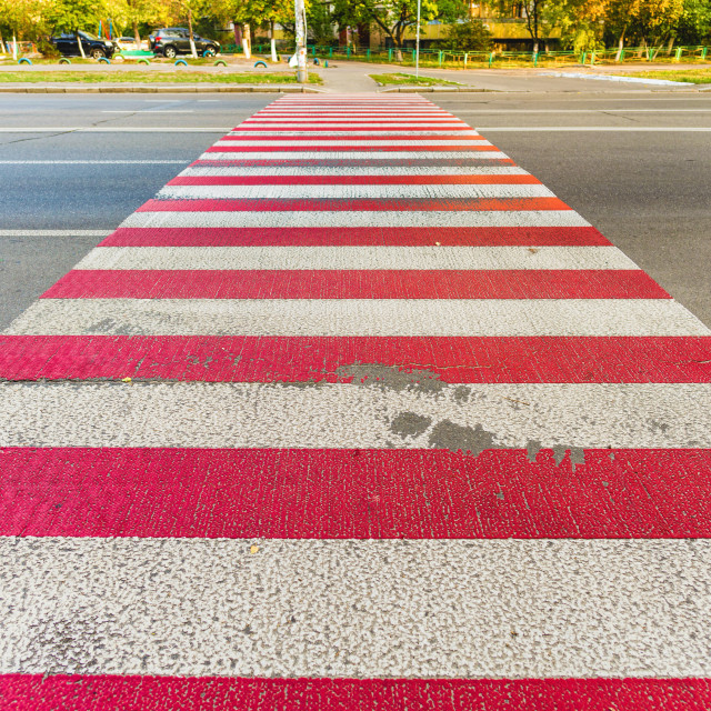 """Red and White Pedestrian Crossing"" stock image"