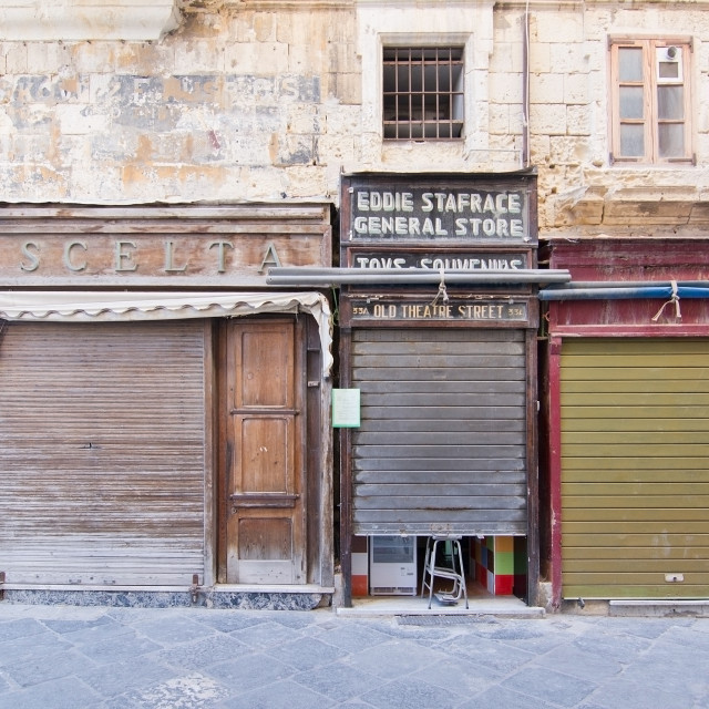 """Old Valletta store fronts"" stock image"